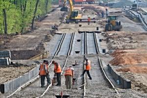 Строительство новой трамвайной линии  в районе стадиона «Самара Арена» завершено на 40%