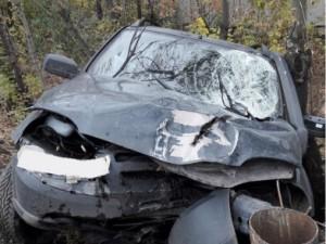 В Самаре на Кряжском шоссе водитель  «Chevrolet NIVA» врезался в столб