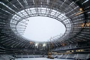 На стадионе «Самара Арена» заканчивают монтаж основания под кровельное покрытие купола